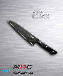 Sushi Chef - Ostry i lekki nóż szefa kuchni przeznaczony do cięcia ryb i sushi. Czarna nieprzywierająca powłoka sprawia, że nóż nie lepi się do żywności. Wygodny duży uchwyt oraz duże ostrze pozwalają na wygodne oczyszczanie kości. Łatwy do ostrzenia, pozostaje długo ostry. Ostrze 180 mm