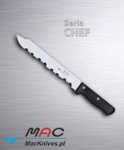 Frozen Knife – nóż do mrożonek. Ostrze 230 mm Mocno ząbkowany nóż zaprojektowany w celu przecinania bloków mrożonek bez uszkodzeń. Nie próbuj ciąć zamrożonej żywności innymi nożami MAC, gdyż może to spowodować uszkodzenie lub pęknięcie ostrza.