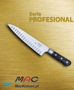 Chef Knife – nóż szefa kuchni. Ostrze 200 mm Wszechstronny nóż szefa kuchni z ostrzem z zagłębieniami.