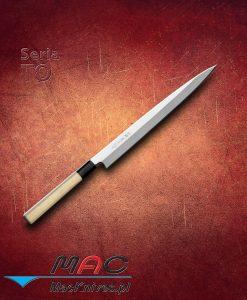 Nóż Fugubiki. Cienkie i wąskie ostrze pozwala kroić w bardzo cienkie plasterki ryby, mięsa i warzywa. Ostrze 270 mm