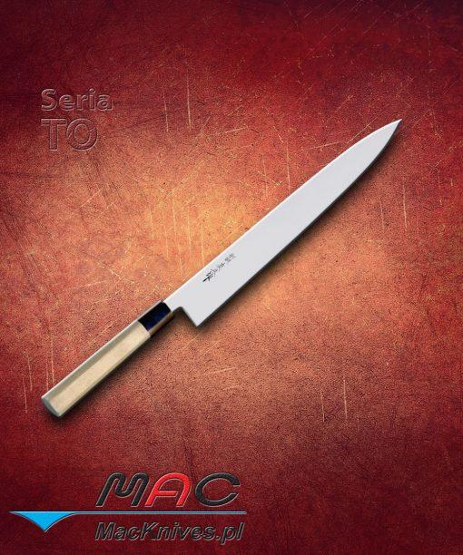 Nóż Sujibiki. Lekki japoński nóż do krojenia, zaostrzony z obu stron w charakterystyczną krawędź MAC, pozwalającą na lepszą kontrolę podczas krojenia. Ostrze 300 mm